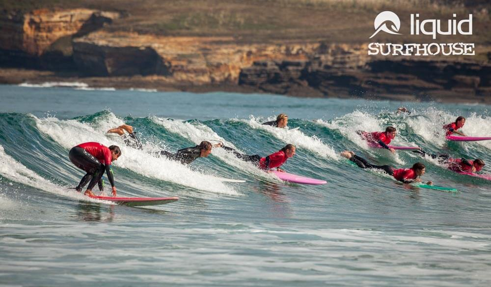 Party wave at liquid surf